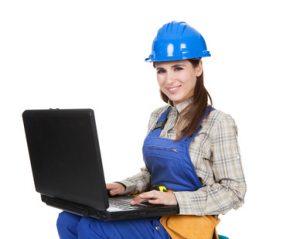 femme ordinateur chantier
